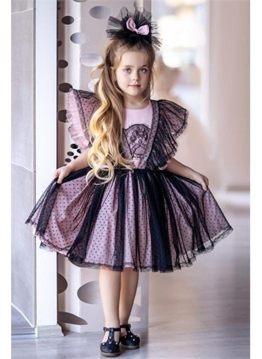 Riccotarz Kız Çocuk Pois Rosa Salopet Tarzı Elbise Pembe